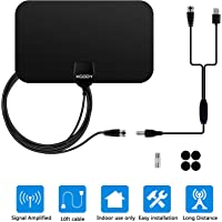 Xgody TV Antenna, 50 Mile Range Amplified HDTV Antenna with Detachable Amplifier Signal Booster, USB Power Supply and 10 Feet Highest Performance Coaxial Cable-Black (006)