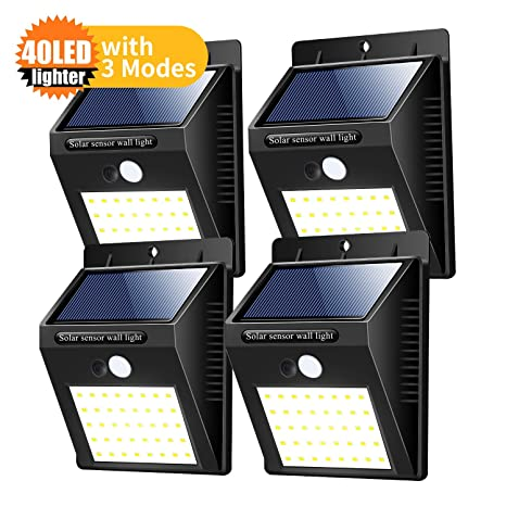 Amazon.com : zoneyee Solar Lights Outdoor 40 Led 4 Pack, with 3 Modes, for Outdoor Light, Detection Sensor Light Automatic Secure Crime Prevention Water ...