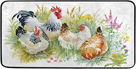 Amazon Com Chicken And Rooster Kitchen Mat Rugs Cushioned Chef Soft Non Slip Floor Mats Washable Doormat Bathroom Runner Area Rug Carpet Dining