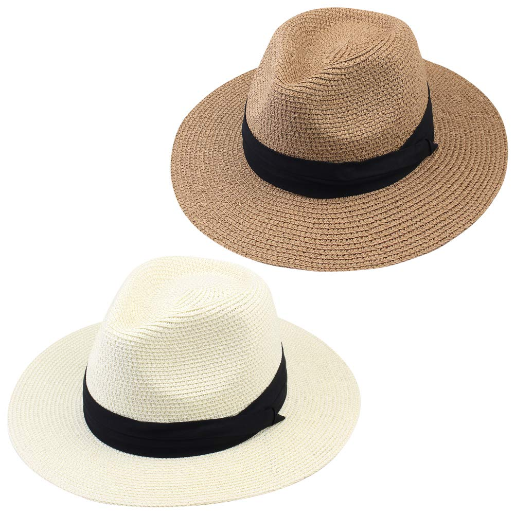 FURTALK Panama Hat Sun Hats for Women Men Wide Brim Fedora Straw Beach Hat UV UPF 50
