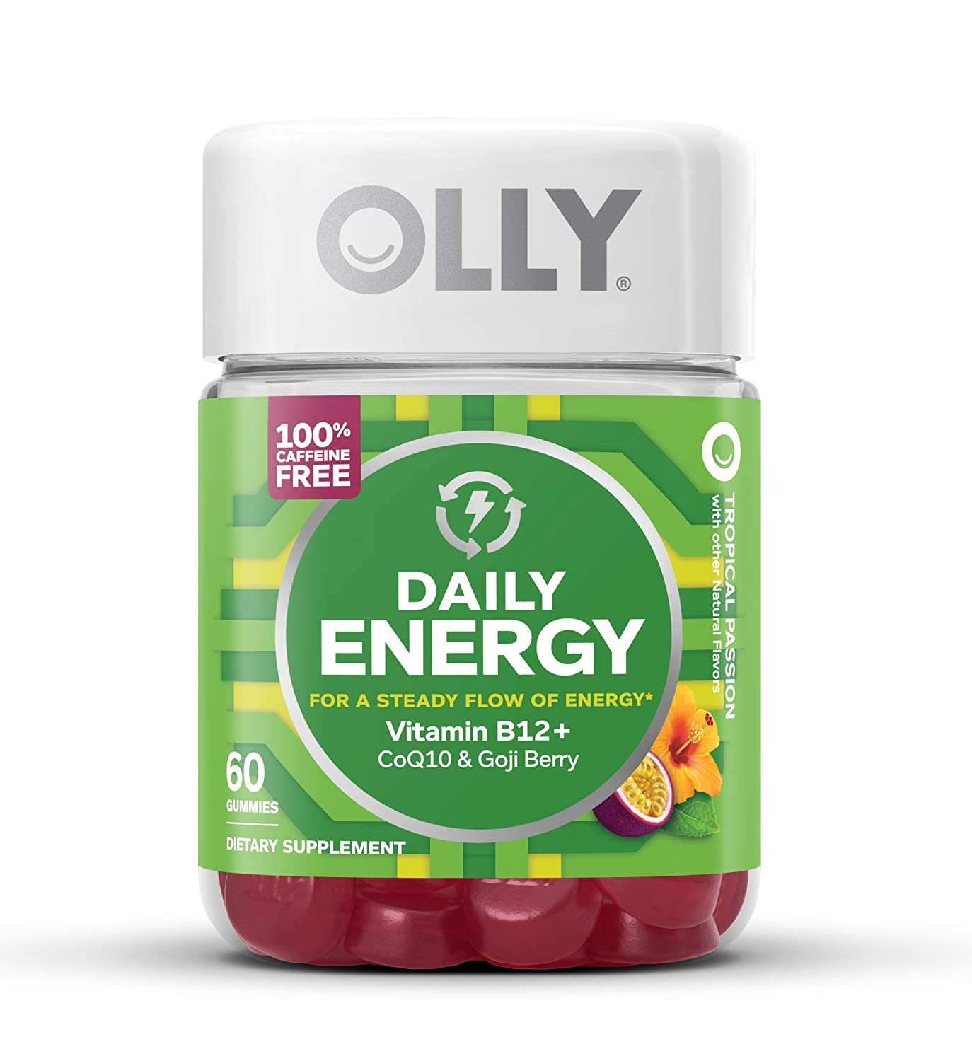 Vitamins For Energy >> Olly Daily Energy Gummy 30 Day Supply 60 Gummies Tropical Passion Vitamin B12 Coq10 Goji Berry Caffeine Free Chewable Supplement