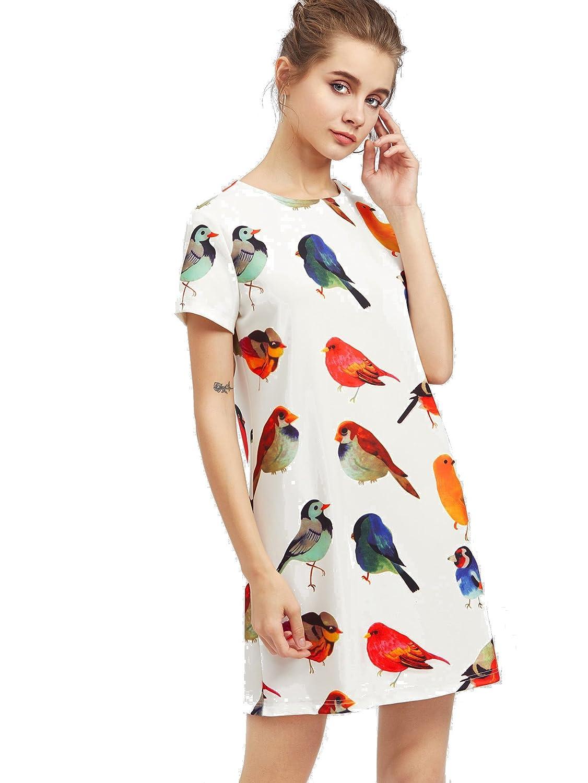 04939aea3b8c2 Romwe Women's Cute Casual Allover Bird Print Shift Dress at Amazon Women's  Clothing store: