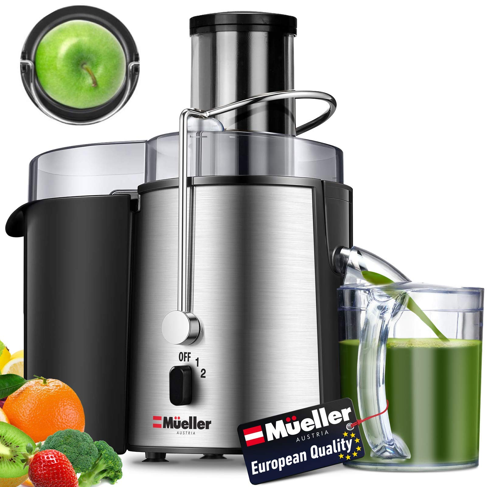 "Mueller Austria Juicer Ultra Power, Easy Clean Extractor Press Centrifugal Juicing Machine, Wide 3"" Feed Chute for Whole Fruit Vegetable, Anti-drip, High Quality, Large, Silver"
