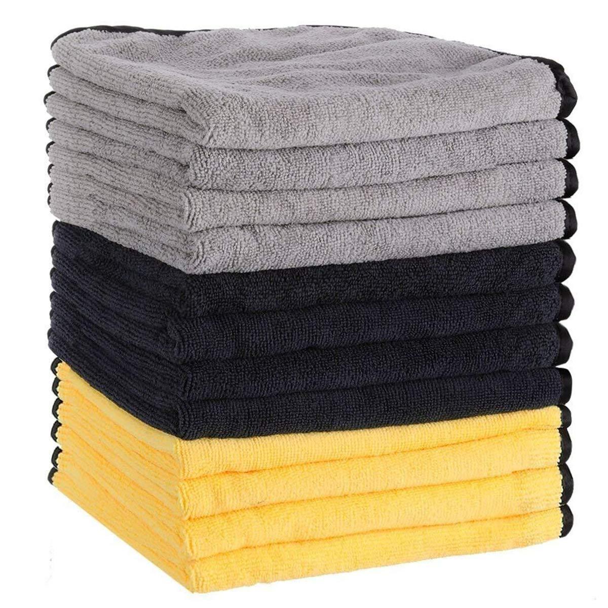 MATCC Microfibre Cleaning Cloths Pack of 12 Car Microfiber Cloth Lint Free Super Absorbent Car Microfibre Towel for Wash Waxing Polishing and Drying Detailing Towel(16'' x 16'') MATCCwoitxol219