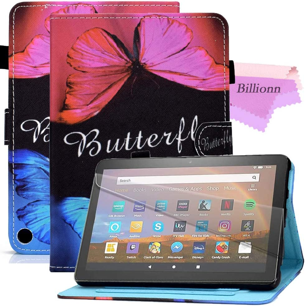 Billionn Case for All-New Amazon Fire HD8 2020 and HD8 Plus 2020 Tablet (10th Generation, 2020 Release), Smart StandCase [Anti Slip Strip] [Auto Sleep/Wake], Butterfly Love