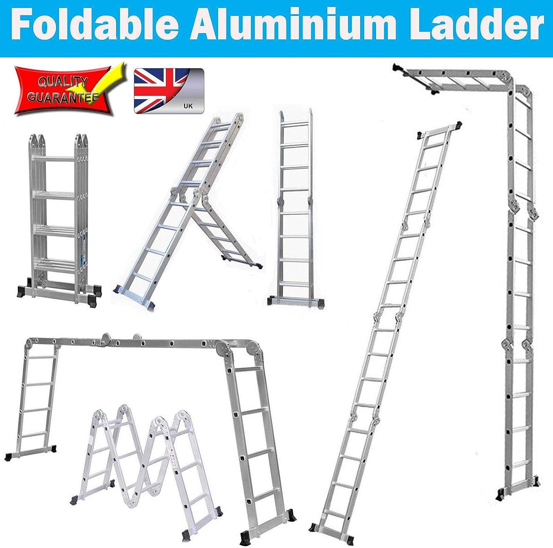 Escalera plegable de aluminio con bisagra de bloqueo y bandeja de herramientas de 4,7 m: Amazon.es: Bricolaje y herramientas