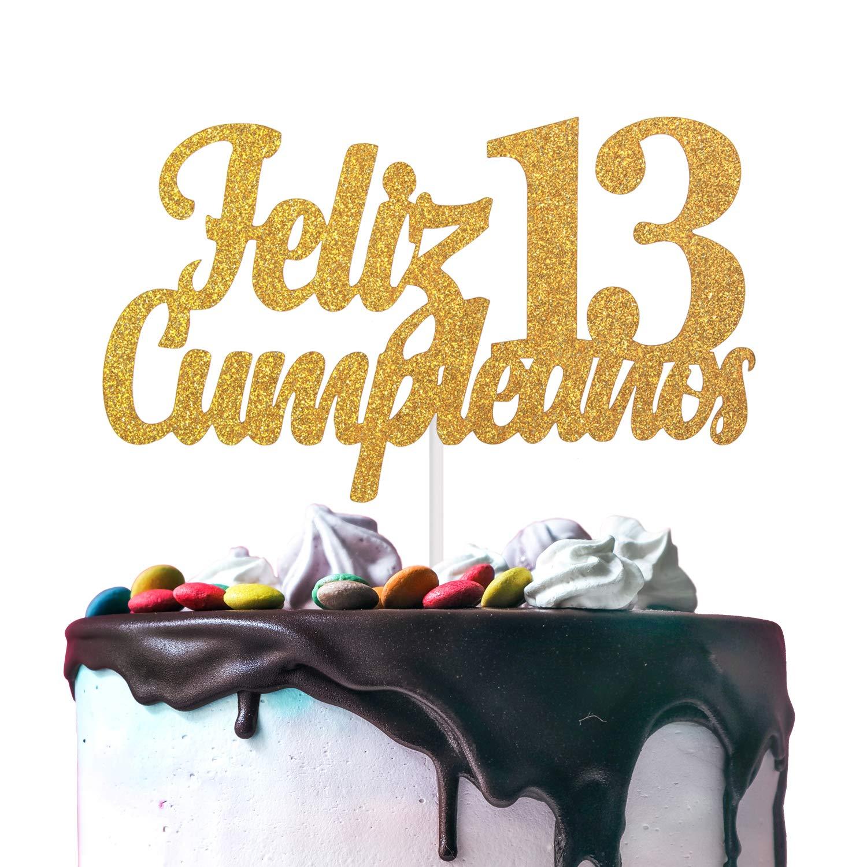 Feliz Cumpleaños 13th Birthday Cake Topper - Gold Glitter Spanish Thirteen Years Old Adorno De Cake - Cheers To Sweet 13 - Boys Girls Trece Años ...