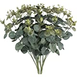 MIHOUNION 2 Bouquets Artificial Eucalyptus Leaves Silk Foliage Realistic Fake Plants Natural Shrubs for Outdoors Home Kitchen Table Hanging Basket Balcony Decorations