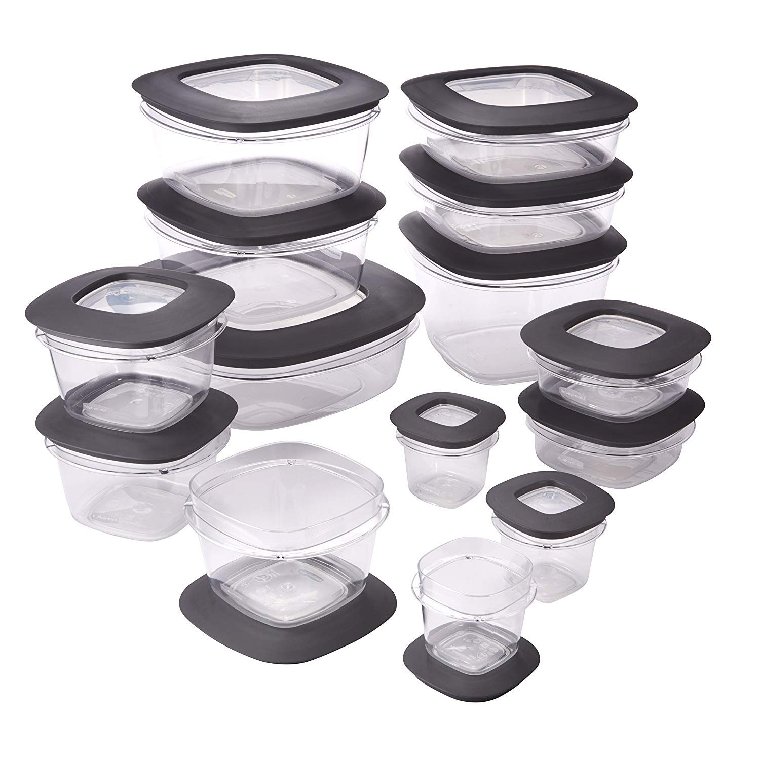 Rubbermaid 1951294 Premier Meal Prep Food Storage Containers, 28-Piece, Gray
