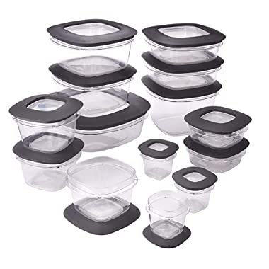 Rubbermaid Premier Easy Find Lids Meal Prep Food Storage Containers, 28-Piece Set, Grey