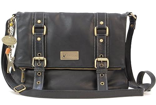 Catwalk Collection Handbags - Women s Leather Cross Body Bag - ABBEY ROAD -  Black 84d3b6f6aa6d0