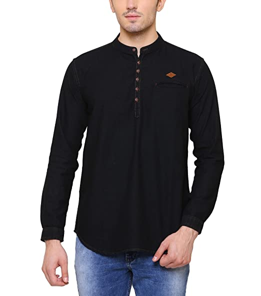 Kuons Avenue Men's Denim Cotton Kurta Men's Casual Shirts at amazon