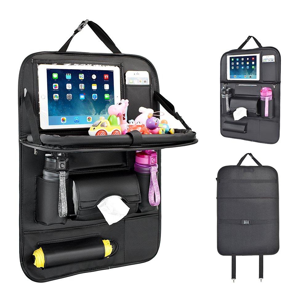 1 Pack-Braun Tablett Multi-Pocket Sitzschoner R/ückenlehnenschutz Auto Autositzschoner R/ückenlehne Kinder Auto-Organizer mit Faltbares iPad-Tablet-Halter