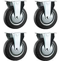 100mm caucho negro Industrial ruedas giratorias–placa superior fija–Ruedas