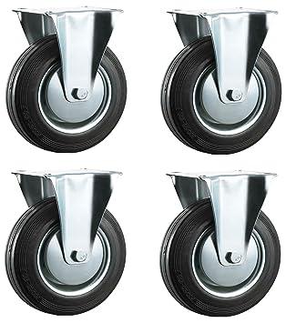 125 mm caucho negro Industrial ruedas giratorias – placa superior fija – Ruedas de alta resistencia