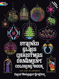 Stained Glass Christmas Ornament Coloring Book Holiday