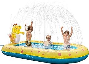 Inflatable Sprinkler Swimming Pool, Blow Up Kiddie Water Pool with Splash, Portable Cute Dinosaur Design Babies Toy Pool, Kid Lounge Water Park, for Toddler, Backyard, Outdoor, Garden, Summer Gift