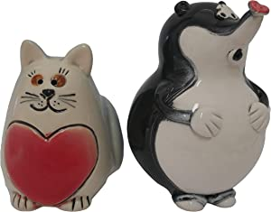 Magik Life Ceramic Cat Figure- Ceramic Kitten and Mole Figurine-Porcelain Cat Figurines-Mini Animal Figurines Ceramic Cats- Porcelain Figurines Decorations for Home- Animal Figurines Ceramic