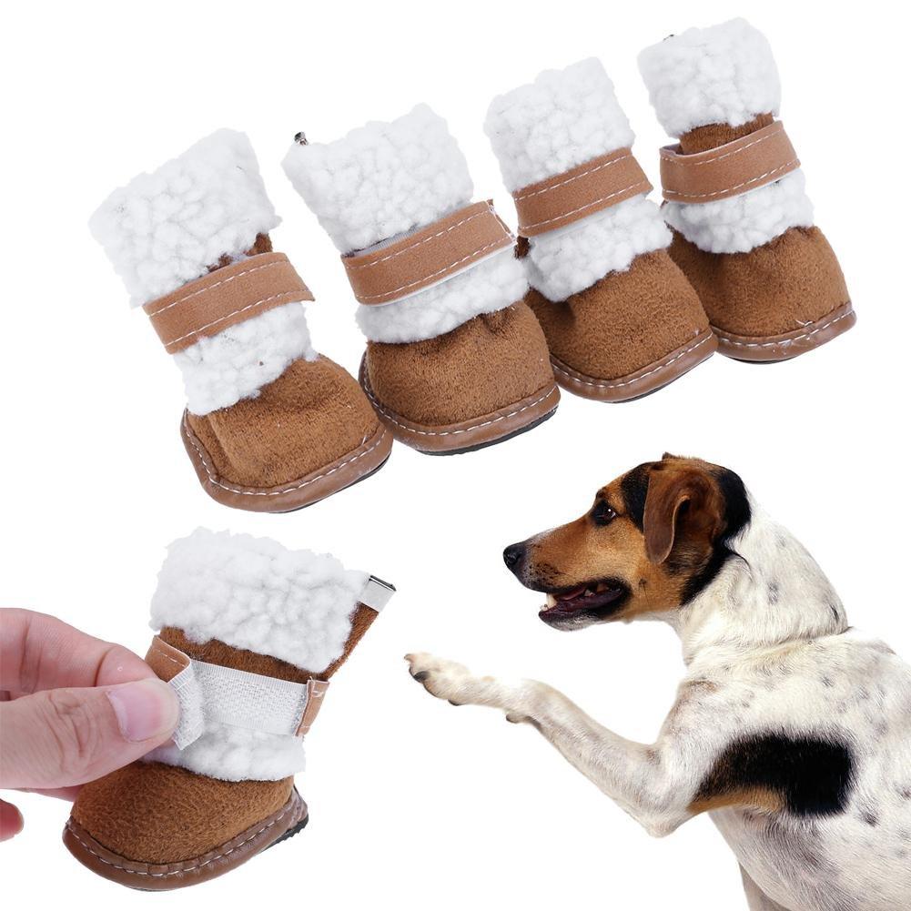 17c2388e12c45 Demiawaking 4 pezzi   Set Scarpe per Cani Domestico Scarpe Caldo in Cotone  Cashmere Stivali da Neve (Cachi