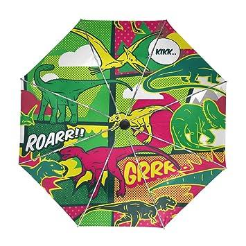 ALAZA Los Dinosaurios de Colores Pop-Arte del Viaje del Paraguas de Apertura automática Cerca