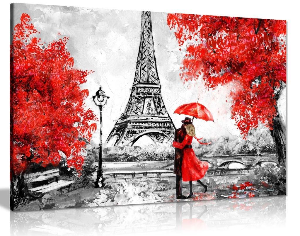 Peinture à l'huile de Paris - Motif de la Tour Eiffel et parapluie rouge - Toile de décoration murale, Red, A1 76x51 cm (30x20in) Panther Print