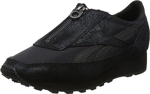 reebok classic aztec zip trainers in black