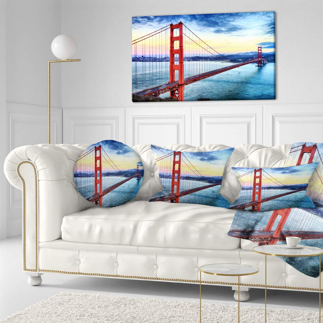 Design Art Pt10043 40 20 Golden Gate Bridge In San Francisco Sea Bridge Canvas Wall Artwork 40x20 Blue Amazon In Home Kitchen