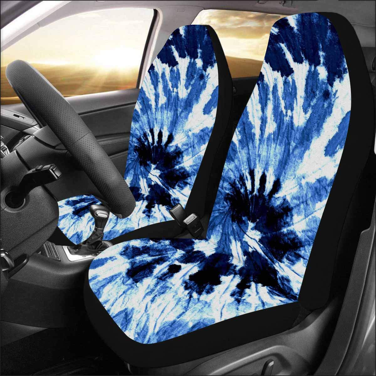 InterestPrint Close Up Shot Of Colorful Tie Dye Auto Seat Covers Full Set 2