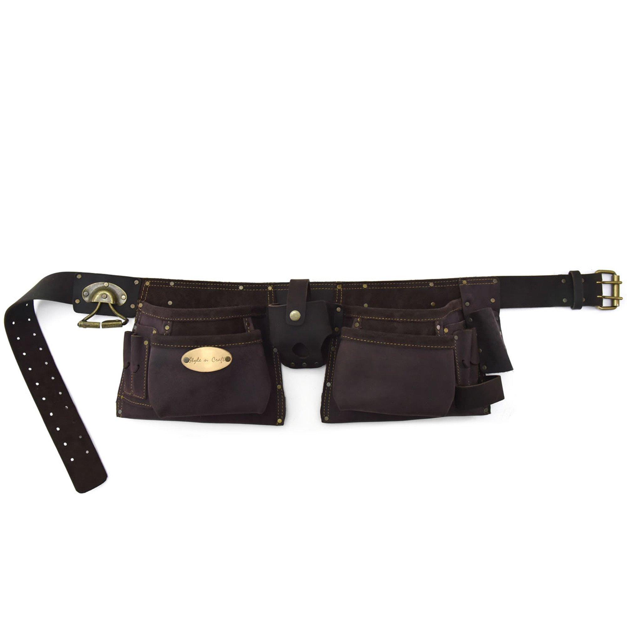 Style n Craft 90-427 10 Pocket Oiled Top Grain Tool Belt