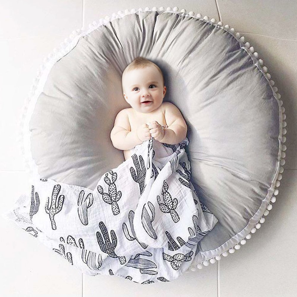 Pueri Baby Play Mat Pure Cotton Woolen Pueri Round Rug Kids' Room Rug Pure Cotton Baby Play Mat Thickened Crawling Mat Carpet Children's Room Decoration Air-Conditioned Rug Collection Area Rug(Gray)