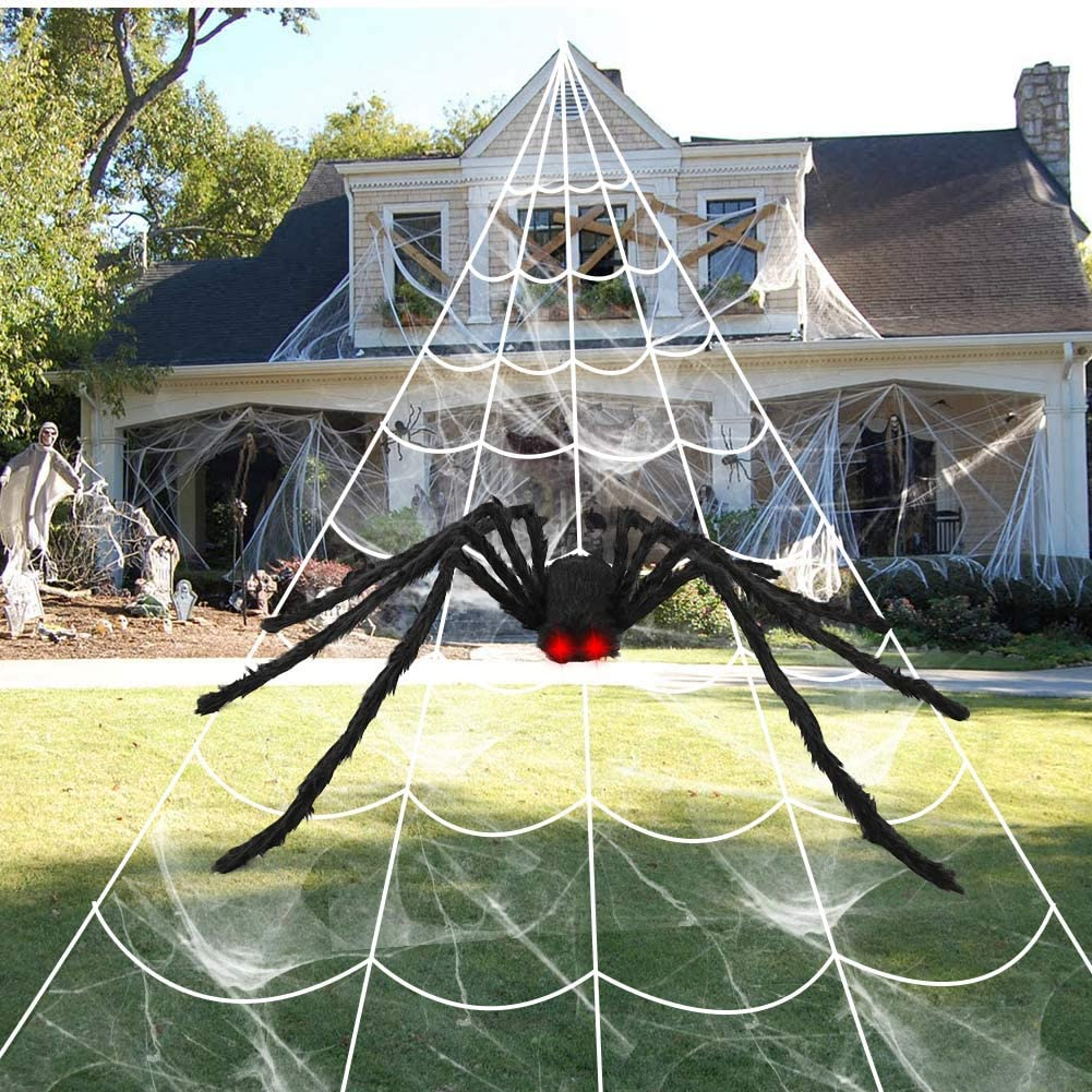 """Aytai 200"""" Halloween Spider Web Decor Outdoor 59"""" Giant Spider with LED Eyes, Scary Fake Spider and Huge Spider Webs Halloween Decorations for Home Party Yard Haunted House Decor : Garden & Outdoor"""
