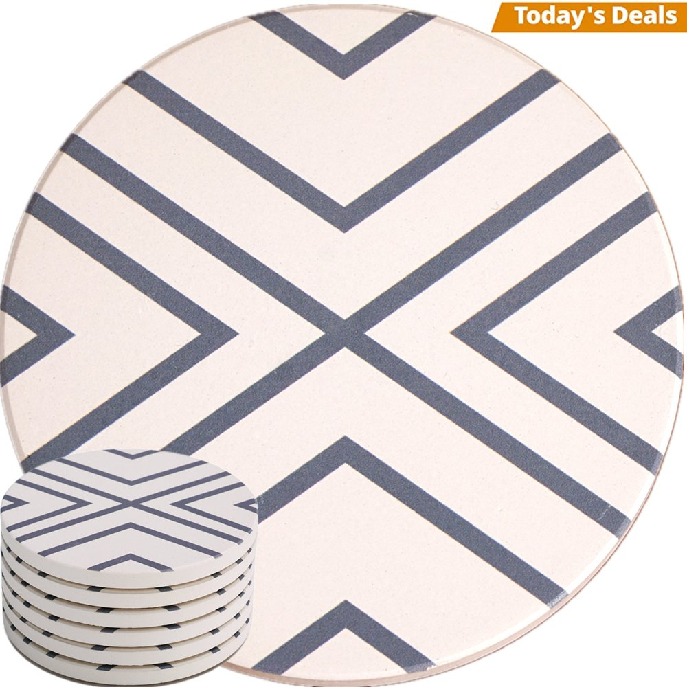 Absorbent Coasters For Drinks - Grey Lines On LARGE Ceramic Stone With Cork Backing, Drink spills Thirsty Coaster Set of 6 No Holder, OVERSIZE BETTER Protects Furniture From Damage by Enkore (Image #1)