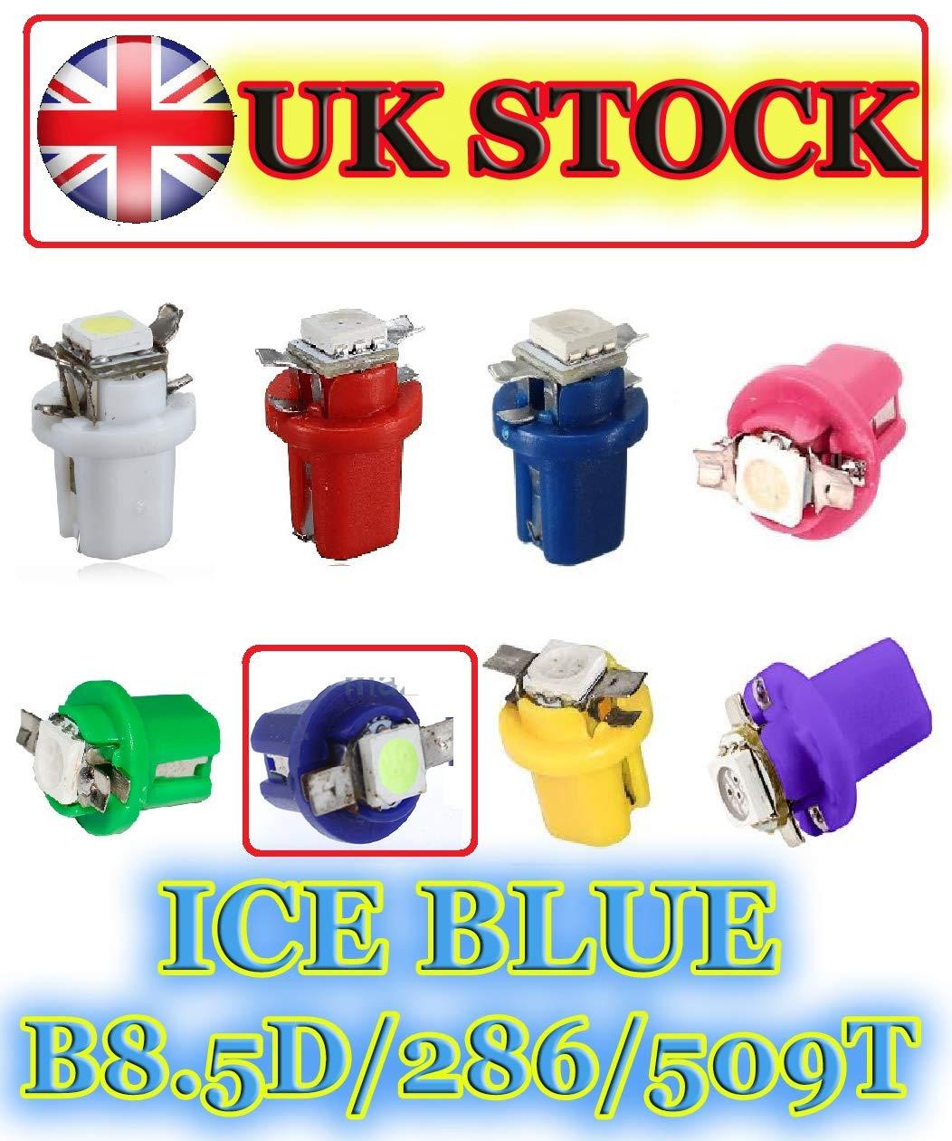 White Blue Red Pink Green Yellow UV Ultraviolet Car Speedo Dash Clocks Dashboard Cluster Gauge LED UK YELLOW 1 x B8.5D // 509T // 286 // T5 LED Twist Lock Dashboard LED Bulb