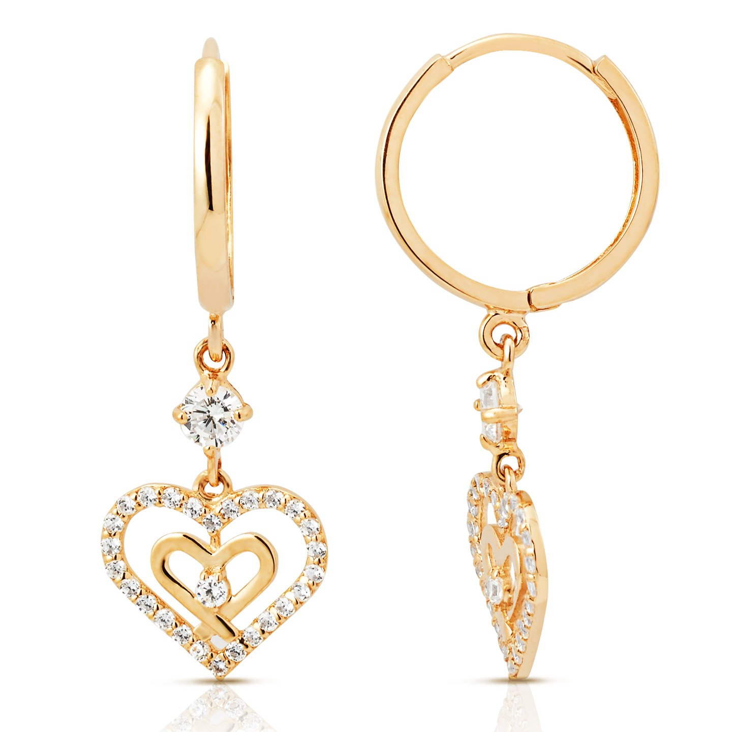 Double Heart CZ Dangling Earring in 14K Yellow Gold