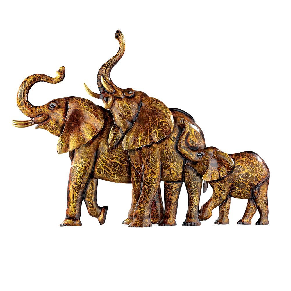 Collections Etc Elephants Metal Wall Art 3D Safari African Décor for Living Room, Bedroom