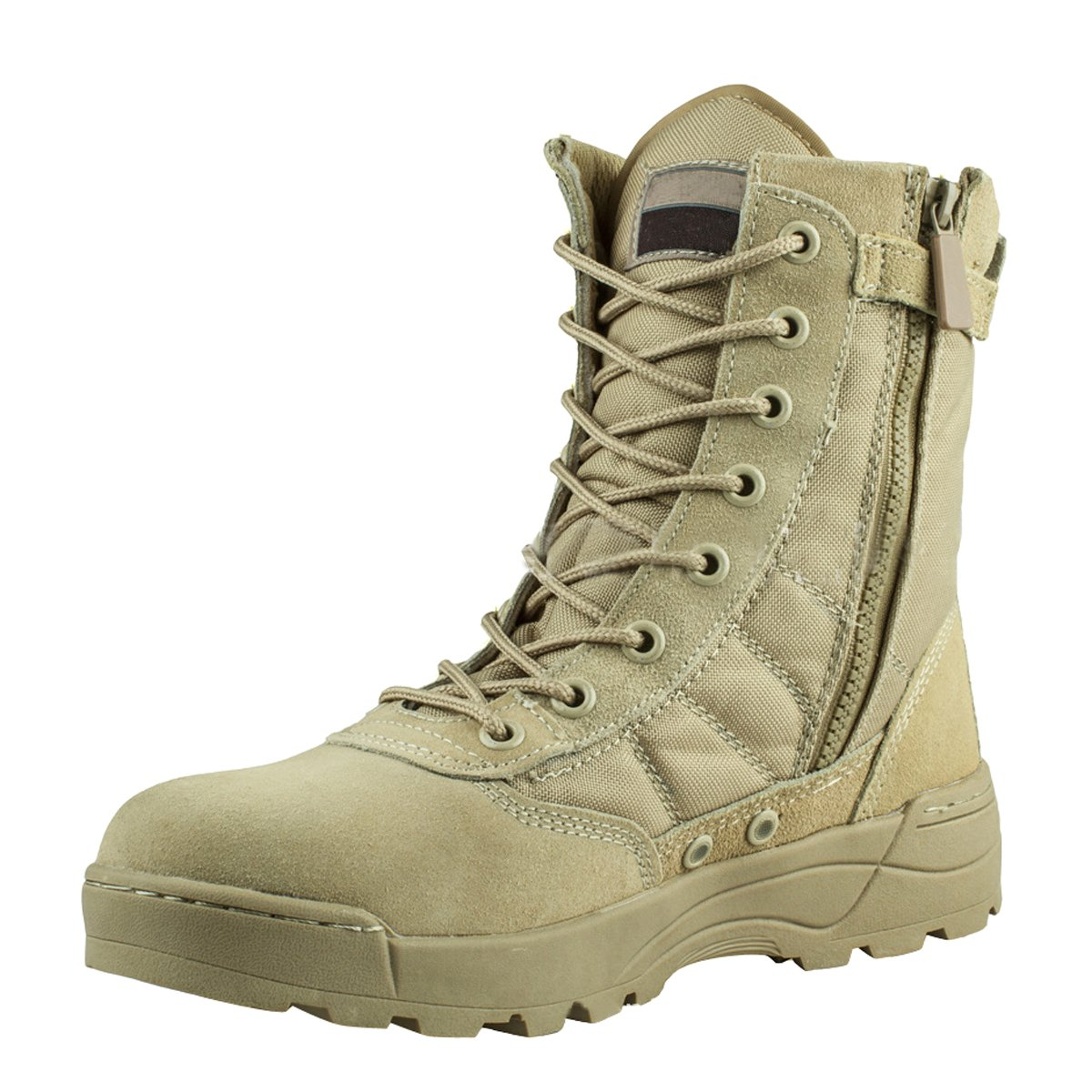 VFDB Men Military Tactical Combat Boots Lace up Desert Boots Side-Zip Outdoor Hiking Boot US 10