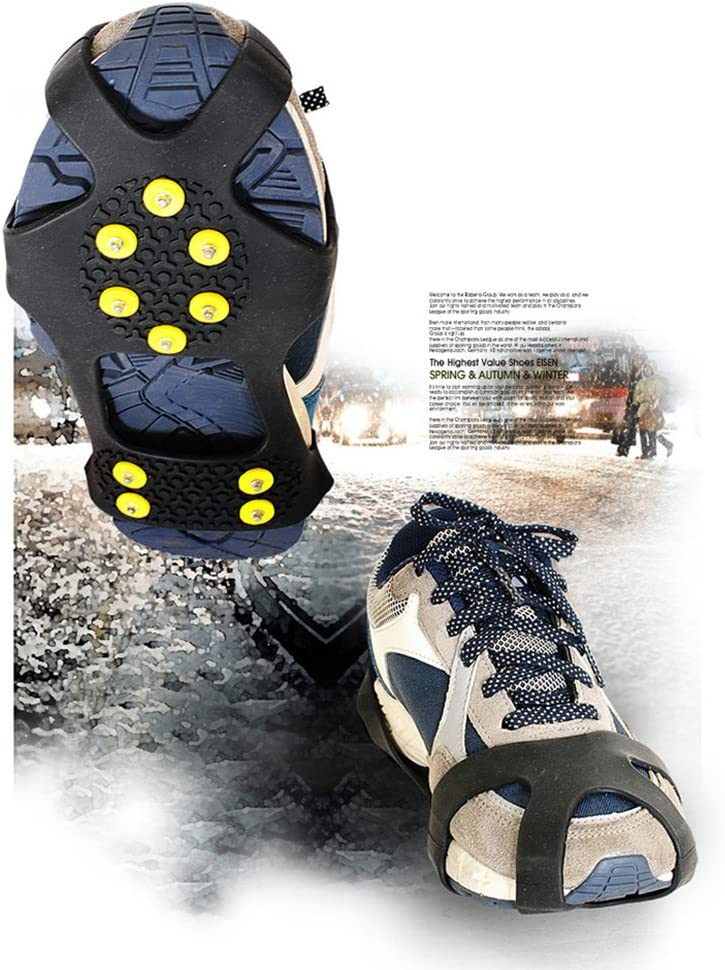 Crampons,Stretch Footwear fit Outdoor Slippery Terrain Extra 15 Studs and 1 Waterproof Pocket Ice Claws Tread Happy Lily 10-point Ice /& Snow Traction Cleat Ice Grips for Walking
