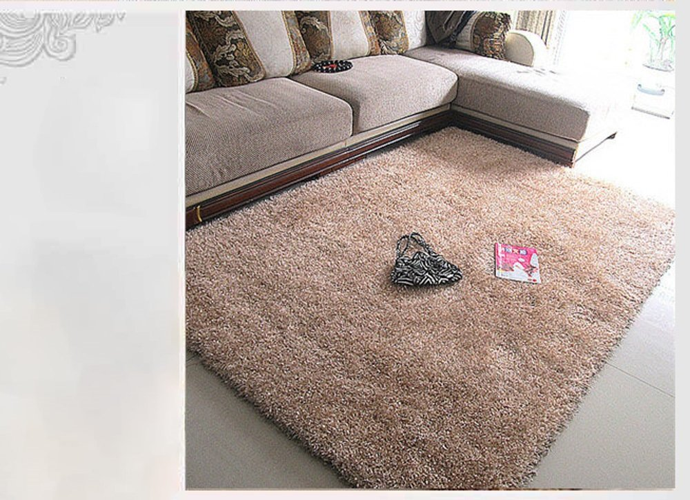 Hyun times Non-slip Moisture-proof Sound Insulation Thick Stretch Flag Solid Color Living Room Coffee Table Carpet Rectangular Carpet Fashion Bedroom Bedside Carpet Full Shop 170 120 Cm
