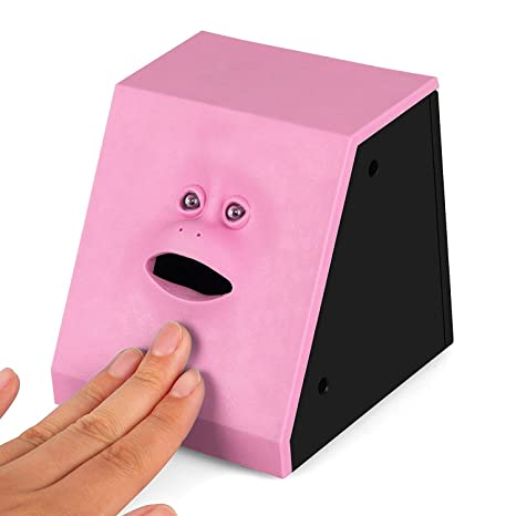 Powstro Face Bank Coin Eating Saving Bank Automatic Money Saving Box (Pink)