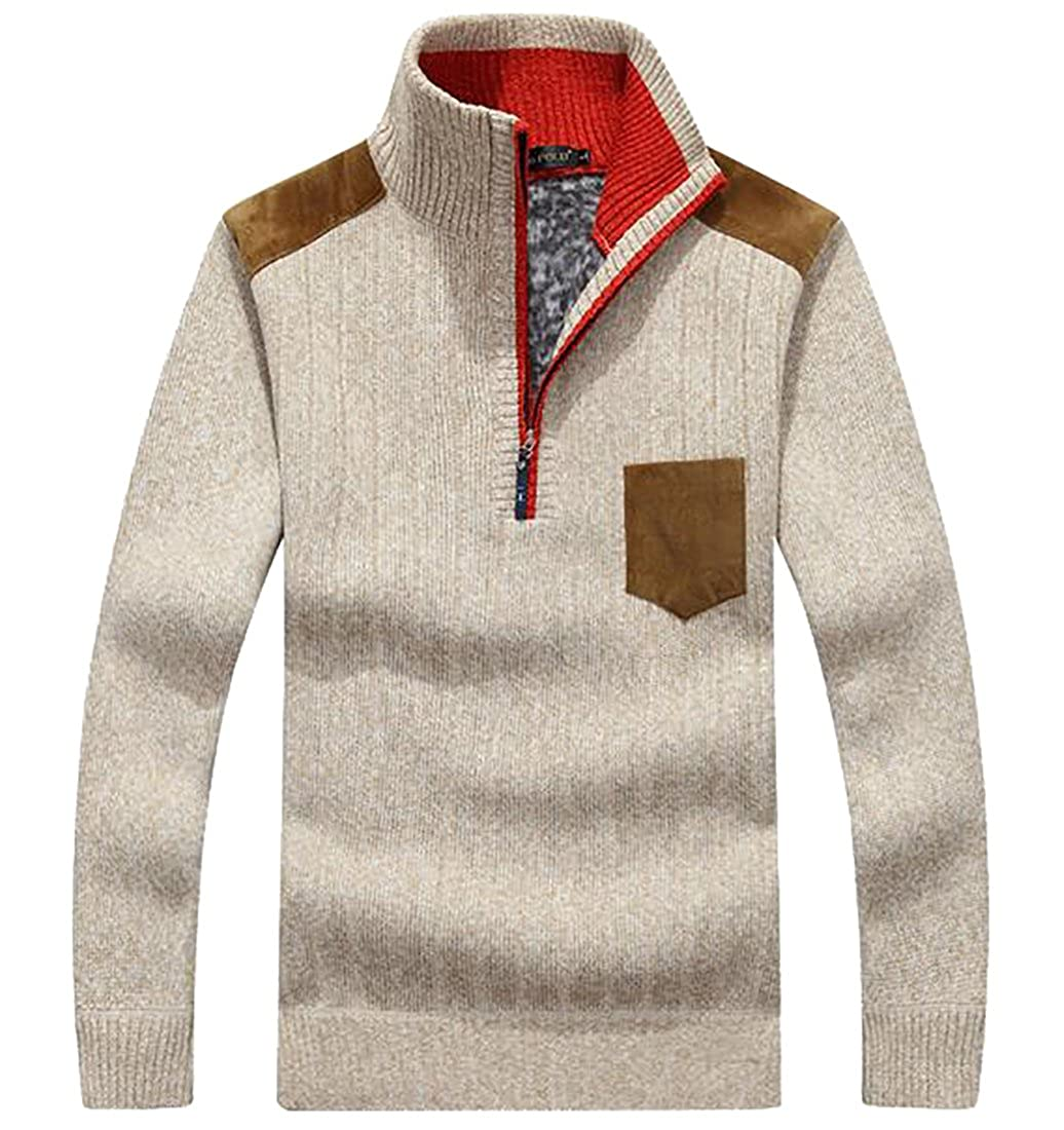 WSPLYSPJY Mens Business Casual Fashion Half Zip Striped Long Sleeve Sweater