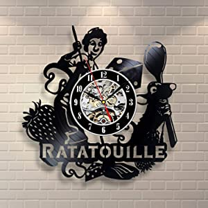Wood Crafty Shop Ratatouille Movie Vinyl Record Wall Clock Gift for Him and Her Unique Wall Decor The Best Gift Idea for Any Event Birthday Gift, Wedding Gift