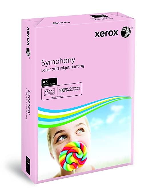 ream 500 sheets XEROX SYMPHONY PINK A3 COPIER PAPER 80gms