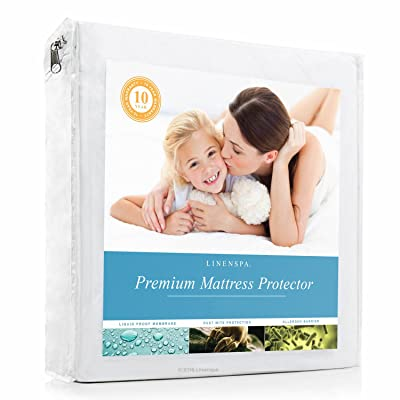 LINENSPA Premium Mattress Protector - 100% Waterproof - Hypoallergenic - 10 Year Warranty - Vinyl Free - Queen / White