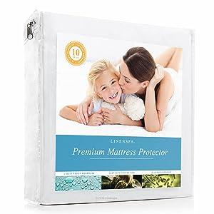 LINENSPA Premium Mattress Protector - 100% Waterproof - Hypoallergenic - 10 Year Warranty - Vinyl Free - Twin XL / White