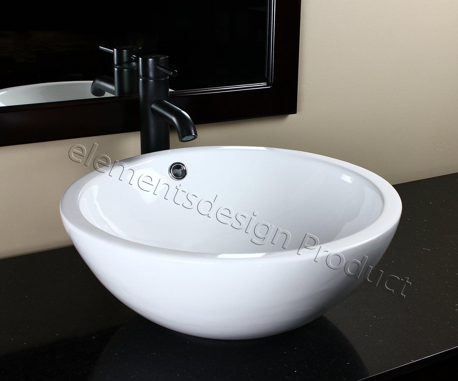 Bathroom Porcelain Ceramic Vessel Sink K96E3 Oil Rubbed Bronze Faucet Drain by ELIMAX'S