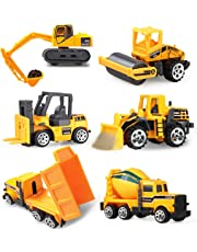Coolplay Engineering Vehicles Dumper Truck, Bulldozers, Forklift, Tank Truck, Asphalt Car and Excavator for Kids - Pack of 6