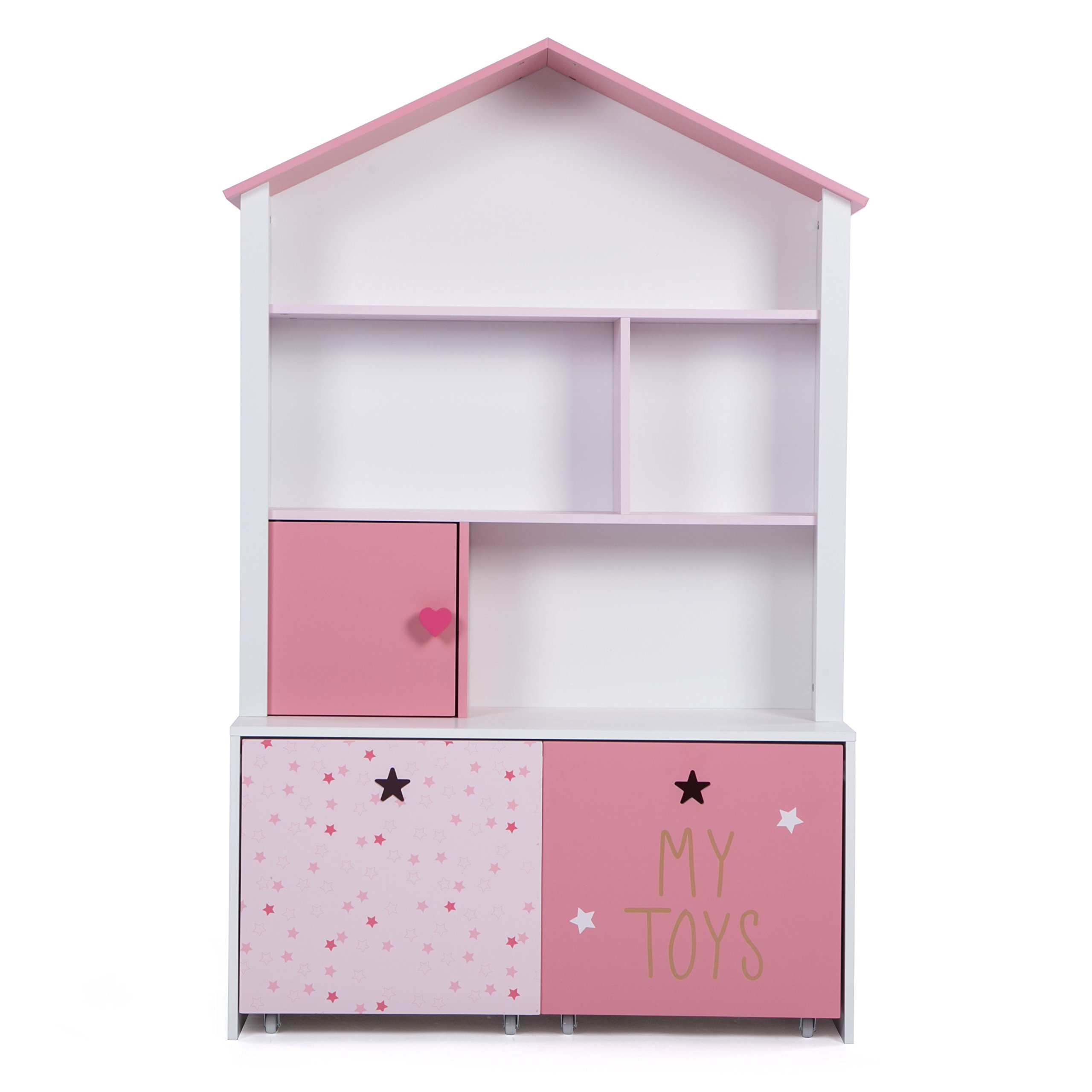 LUCKUP Kids Furniture Children Dollhouse Cottage Wood 3-Tier Tallsturdy and adorable Shelf Bookcase with Two Removable Drawer, Pink