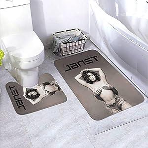 DFHDFH Janet Jackson Bathroom Rug Mats Set 2 Piece, Anti-Skid Pads Bath Mat and Toilet Mat,Bathroom Antiskid Pad Bathroom Padded Floor Mat