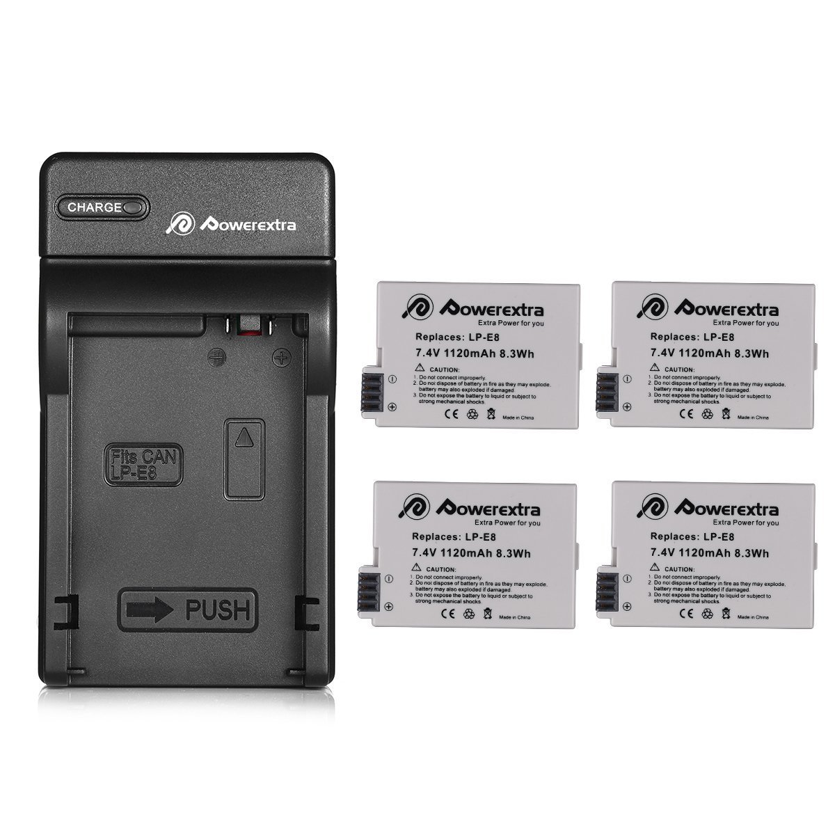 Powerextra 4 Pack Replacement Canon LP-E8 Battery Compatible with Canon Rebel T5i T4i T3i T2i DSLR Digital Camera with Charger for Canon LP-E8 Replacement of LC-E8E by Powerextra