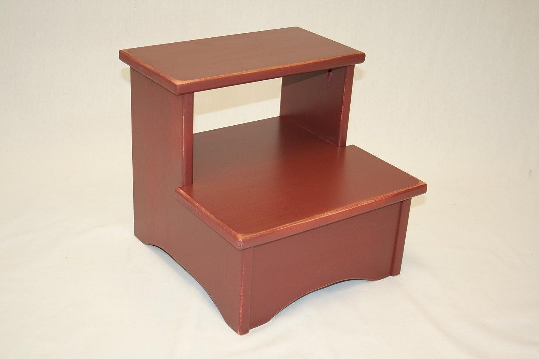 Amish手作りソリッド木製ベッドstool-lmb-レンガレッド B00AB3CXW4